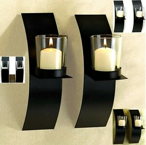 One Set of Two (2) Sconces ** MOD-ART CANDLE WALL SCONCE DUO SET ** NIB