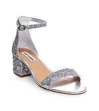 Steve Madden Women's Irenee Two-Piece Block-Heel Sandals Size 6 Silver Glitter