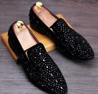 Mens Stylish Bling Slip On Casual Loafers Rhinestones Driving Club Dress Shoes