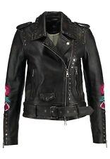Set Urban Deluxe Women's Leather Jacket Biker Flower Embroidery Black Leather