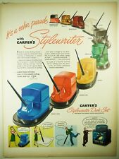 Vintage 1947 CARTER'S Fountain Pen Ink Full-Pg Magazine Ad: STYLEWRITER INK WELL