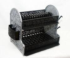 Plastic Dish Drainer Double Drip Tray 2 Layer Rack Utensil Cutlery Draining G/B