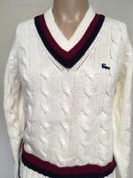 VTG 60s 70s IZOD Lacoste STRIPED CABLE KNIT V NECK Tennis SWEATER White BLUE S