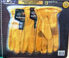 3 Pair Wells Lamont Premium Leather Work Glove Gloves XL Heavy Duty