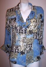 Piano Top S Blue Mini Pleated Beaded Ruffle Collar & Sleeves Career Shirt Blouse
