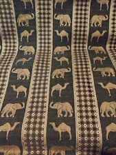 """Heavy Upholstery Fabric of Elephants Camels Fabric by the yard 57""""W, 5 yds Avail"""