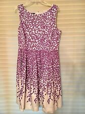 Sz 14 TALBOTS Dress White Purple Leaves, pockets - Excellent Cond