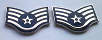 1 PAIR (2) US AIR FORCE RANK E5 STAFF SGT. Military Rank Pins 14338 HO