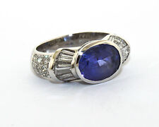 14K White Gold Blue Sapphire Baguette and Round Diamond
