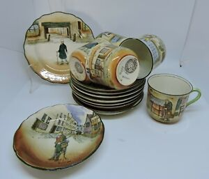 Antique Royal Doulton Dickens Ware - Cups,Saucers, Plate and Dish - D2973