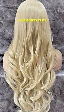 "33"" Long Wavy Layered Bleach Blonde Full Lace Front Wig Heat Ok  #613 NWT"