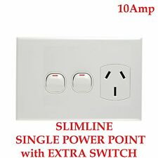 Single Slimline Slim Line Power Point Outlet + Switch