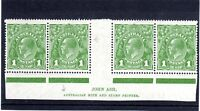 1926 KGV 1d GREEN  GUTTER BLOCK & IMPRINT FLAW 1st A in AUSTRALIA - WRONG FONT