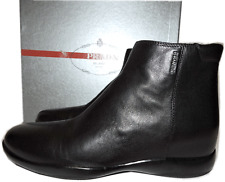 Prada Sport Linea Rossa Ankle Black Leather Boots Flat Zipper Booties 40-9.5