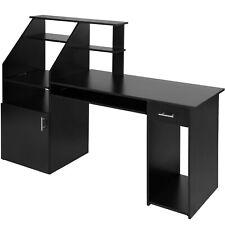 Computer Desk Furniture Workstation PC Table Desktop MDF Office Drawers Black