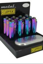 Clipper Metal Lighters With Metal Gift Tin Case Refillable Multi Colour Free Tin