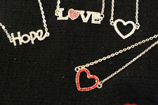 RHINESTONE NECKLACE, HOPE, LOVE, HEART, CHRISTMAS BIRTHDAY AND MORE