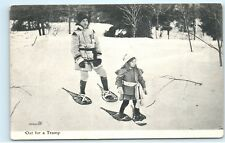 Mother Daughter Snowshoeing Trip Vintage Wooden Snowshoes Canada Postcard A89