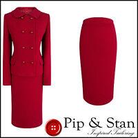 HOBBS UK12/10 US8/ RED WOOL PENCIL SKIRT SUIT 50S INSPIRED WOMENS LADIES SIZE