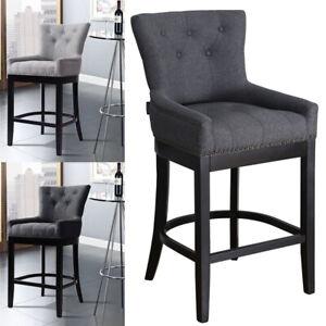 Kitchen Bar Stool Pub Bar Chair Armchair Barstool Linen Fabric Upholstered Seat