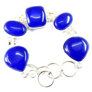 "140.00Cts Blue Chalcedony Gemstone Silver Overlay Handmade Bracelet 7"""