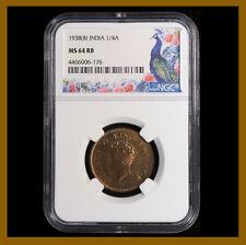 British India 1/4 (Quarter) Anna, 1938 (B) Bombay NGC MS 64 RB King George VI