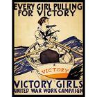 Vintage Victory Girls War Work Campaign Pulling Boat Rowing 12X16 Framed Print