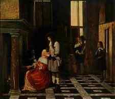 A4 photo HOOCH Peter de 1629 1684 LADY cartes à jouer avant le feu Histoire de