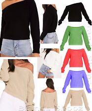 Women's Cropped Slash Neck ladies Knitted Oversize Baggy Sweater Jumper Top 8-16