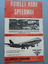 FEBRUARY 18TH 1977 SPEEDWAY OFFICIAL PROGRAM ROWLEY PARK MEETING NUMBER 16
