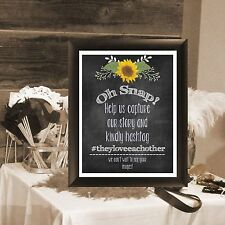 """Wedding Table Photo Sign """"Oh Snap, Hashtag Rustic Chalkboard Look-Sunflowers"""