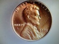 1955-P LINCOLN WHEAT CENT ICG MS66+ RED  lists $175.00