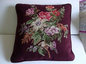 RALPH LAUREN BRITTANY FLORAL NEEDLEPOINT WOOL 16 INCH DECORATIVE THROW PILLOW