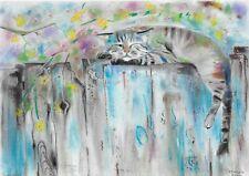original drawing A4 20YO art by samovar pastel animal cat Signed 2020