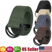 Canvas Webbing D Ring Belt Black Buckle Military Style for men women Adjustable
