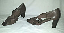 Cute Strappy Mobiscotti Brown MOOTSIES TOOTSIES Sz 6M Peep Toe Mule Heel  Shoes