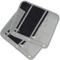 Pencil Pouch Fits 3 Ring Binder, Nylon Fabric Case with 3 Zipper Pockets 2 Gray