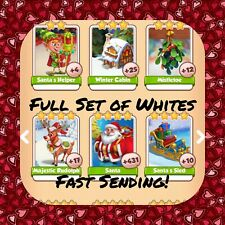Coin Master Full Christmas Set (All 6 Whites) Santa Santa Sled Etc(FastDelivery)