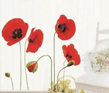 Red Poppy Flowers Wall Stickers Removable Transparent Art Decal Home Decor