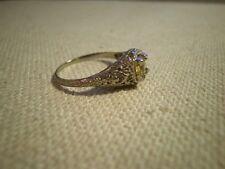 SWEET 1ct Natural Yellow Sapphire 18K White Gold Filigree Ring Size - 6.5