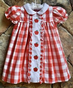 Smocked A Lot girls Apple Back To School Dress Peter Pan collar Red Embroidered