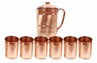 Copper Handmade Water Jug Pitcher 6 Tumbler Set Natural Ayurveda Health Benefit