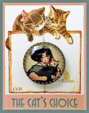 LITTLE GIRL HOLDING CATS 30mm GLASS DOME BUTTON Brass Filigree VINTAGE PRINT