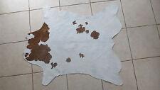 "Soft Brown & White Calf Skin Hair On Leather Pelt Craft Fur 34"" x 39"" Hide Rug"
