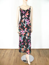 MinkPink Miss Lilly Floral Print Cross Front Dress Pink Black XS $109 9441 BM12