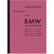 BMW R51 R61 R66 R71 1939 Ersatzteilliste Ersatzteilkatalog R 51 61 66 71 Parts