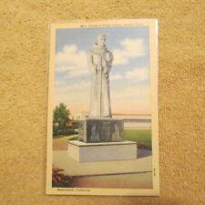 2 Bit Postcards-C26 1943 C.T. Art Statue of Padre Garces Bakersfield, Calif.