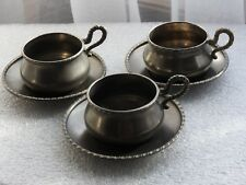 service à café-moka ancien étain RAMA PELTRO 95% 3 tasses 3 sous-tasses dînette