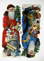 Vintage Die Cut L&B Victorian Scrap of 2 Santa's in Blue Coat and Red Coat