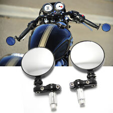 "Black Motorcycle 3"" Round 7/8"" Handle Bar End Foldable Mirrors For Honda Yamaha"